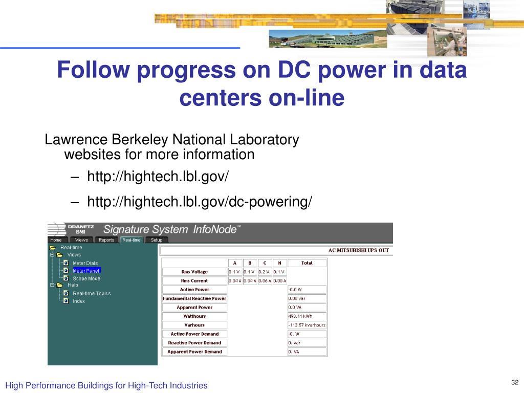 Follow progress on DC power in data centers on-line