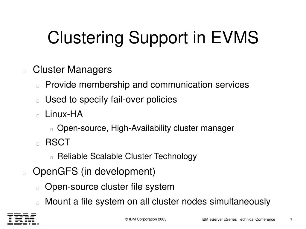 Clustering Support in EVMS