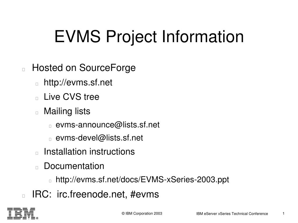 EVMS Project Information