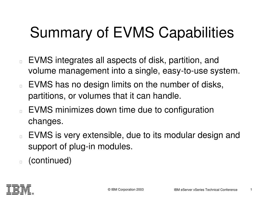 Summary of EVMS Capabilities