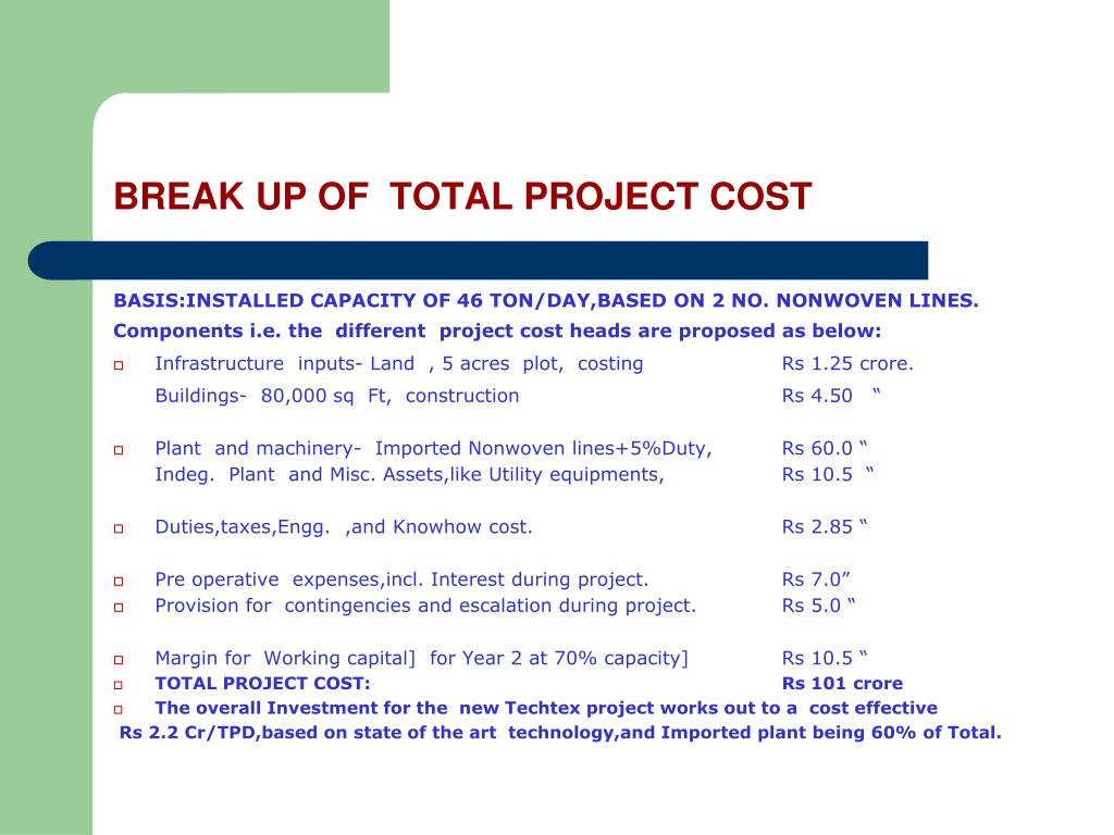 BREAK UP OF  TOTAL PROJECT COST