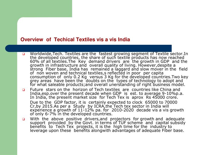 Overview of techical textiles vis a vis india