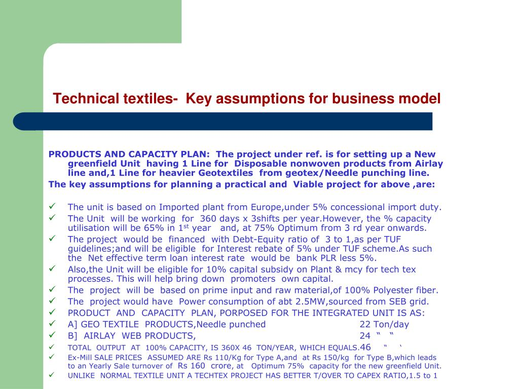 Technical textiles-  Key assumptions for business model