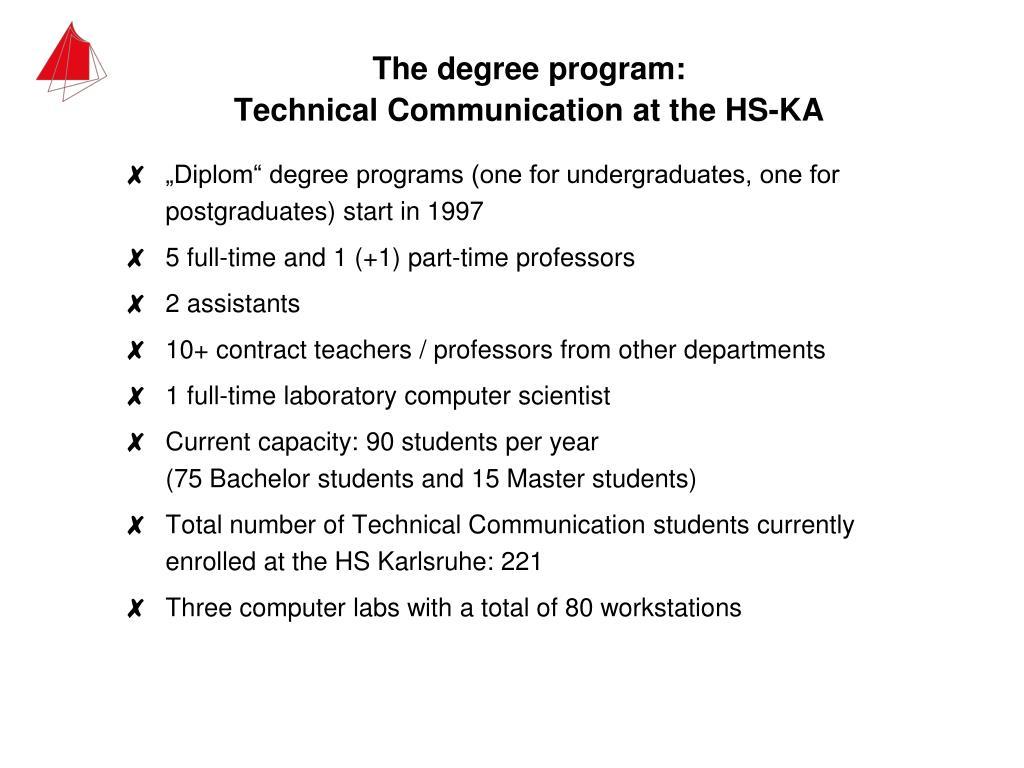The degree program: