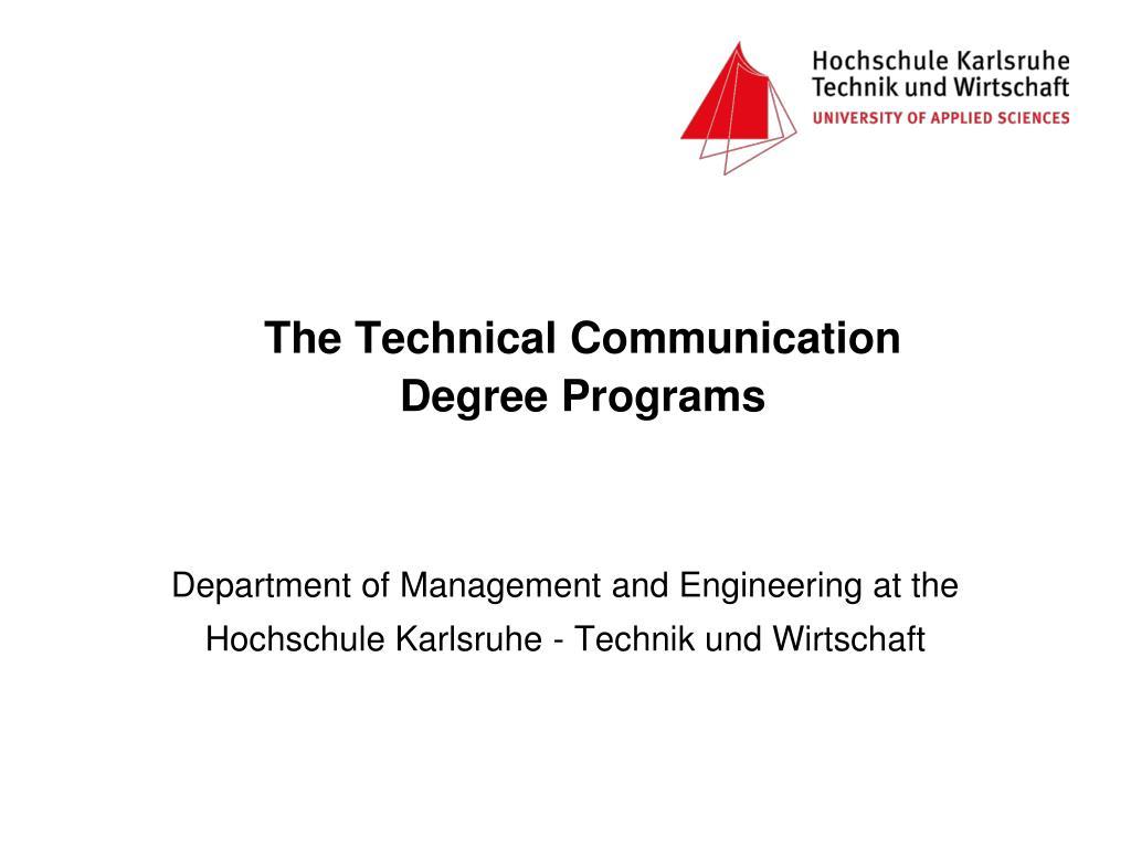 the technical communication degree programs