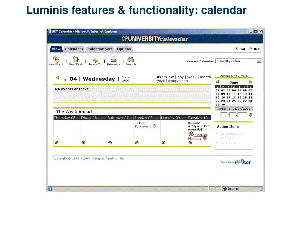 Luminis features & functionality: calendar