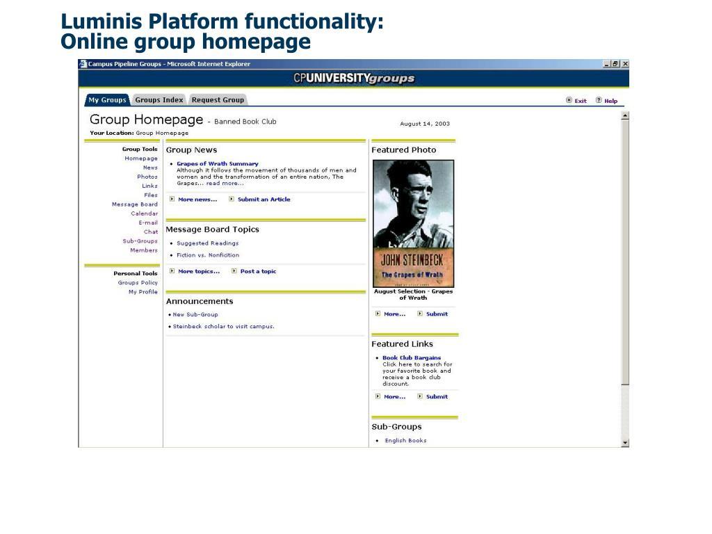 Luminis Platform functionality: