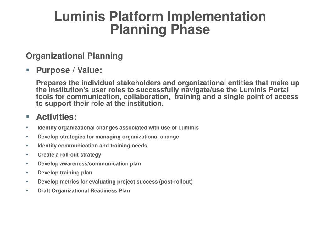 Luminis Platform Implementation