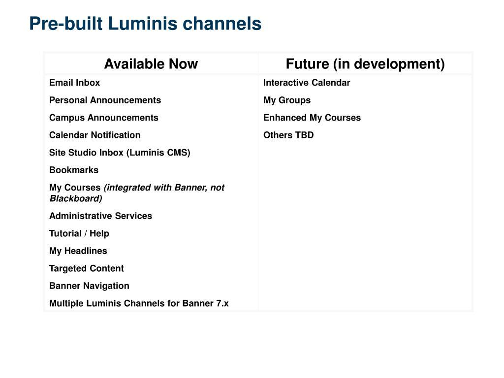 Pre-built Luminis channels