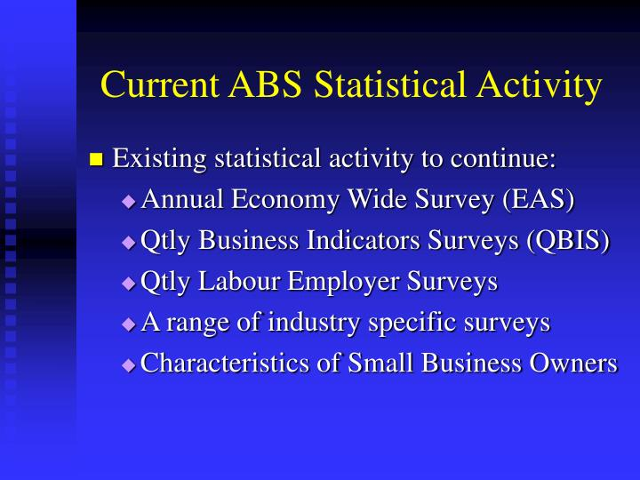 Current abs statistical activity