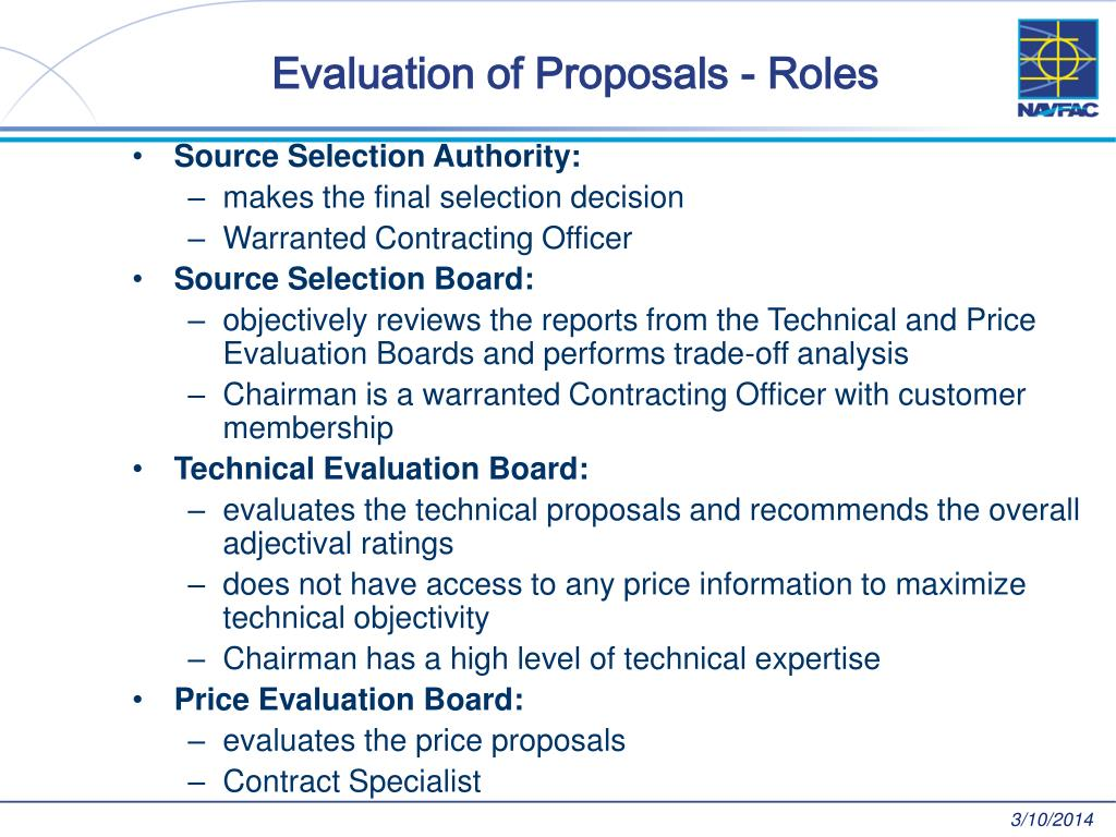 Evaluation of Proposals - Roles