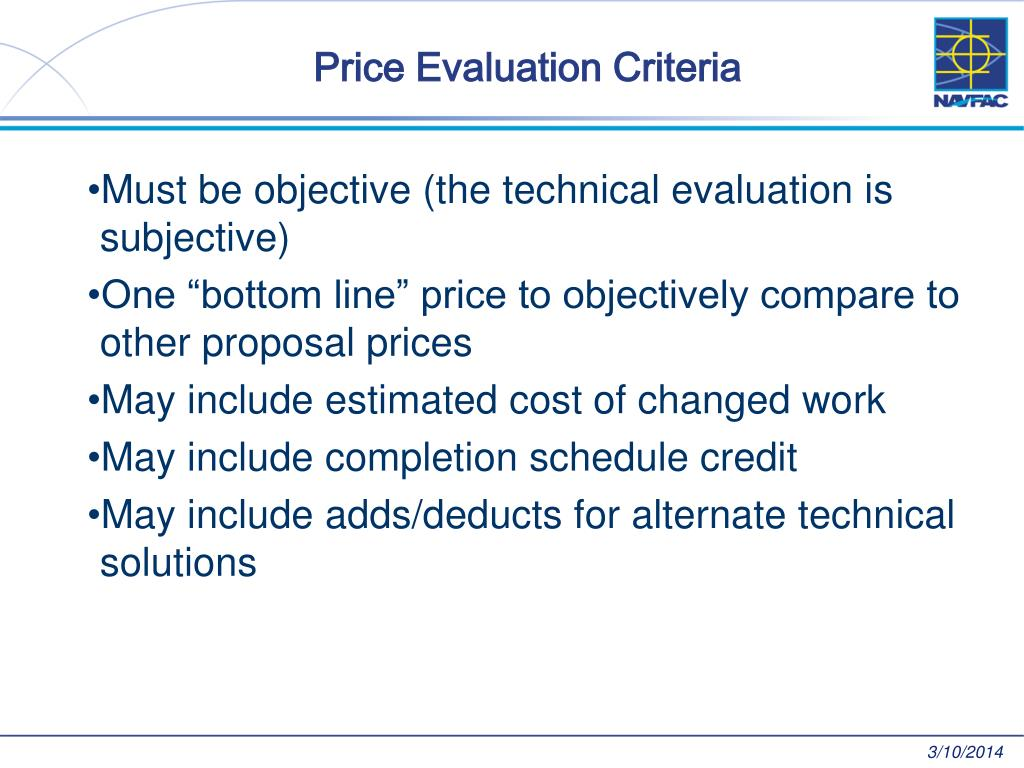 Price Evaluation Criteria
