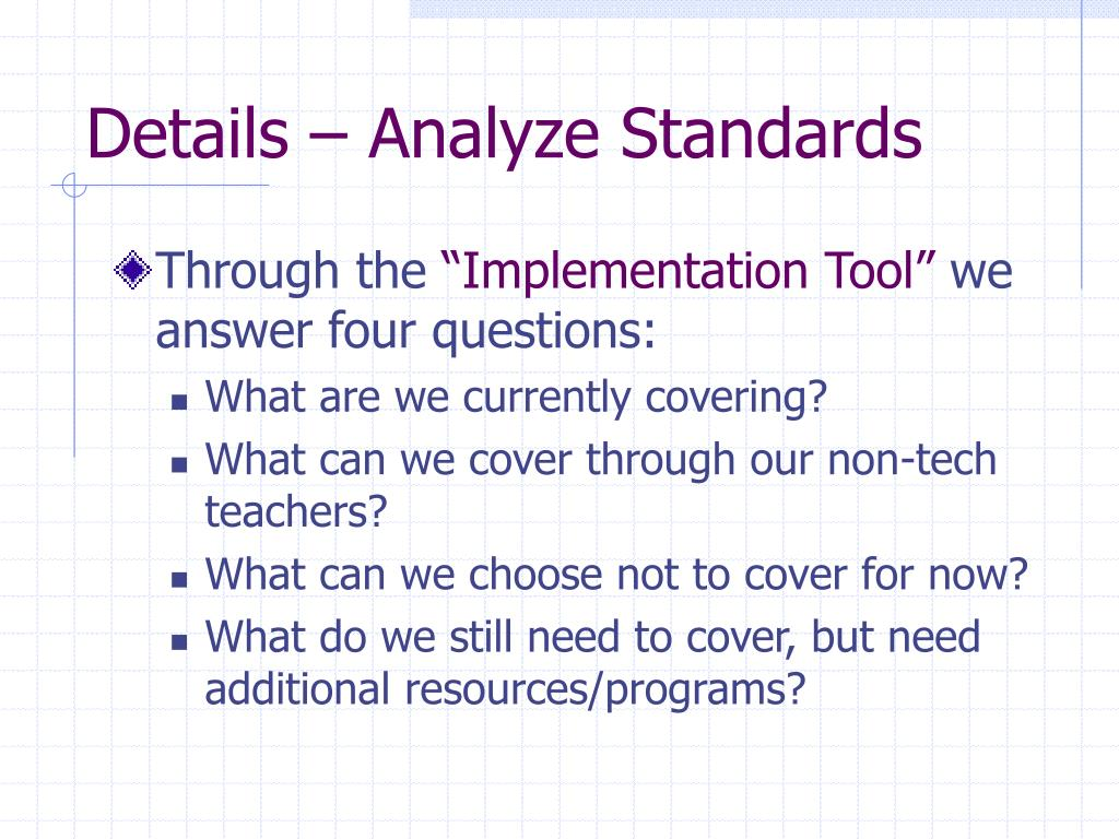 Details – Analyze Standards