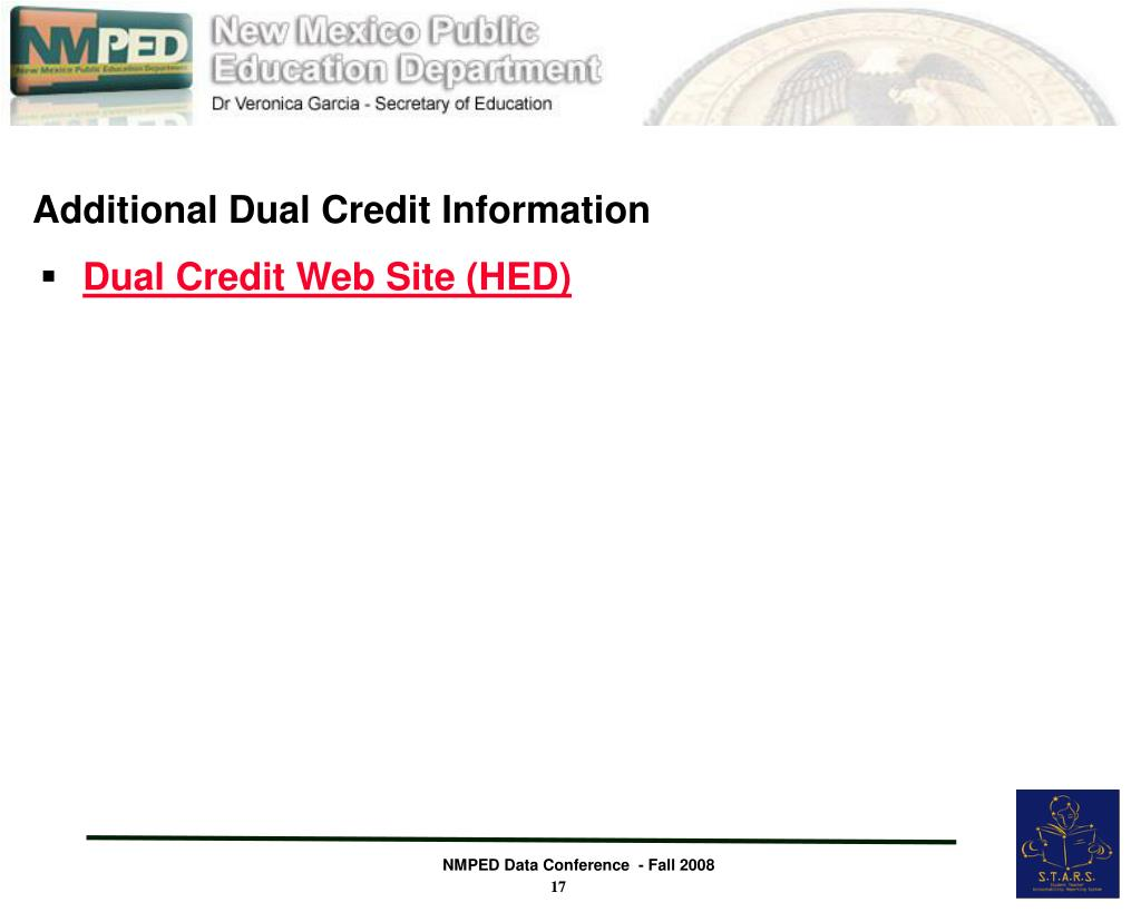 Additional Dual Credit Information
