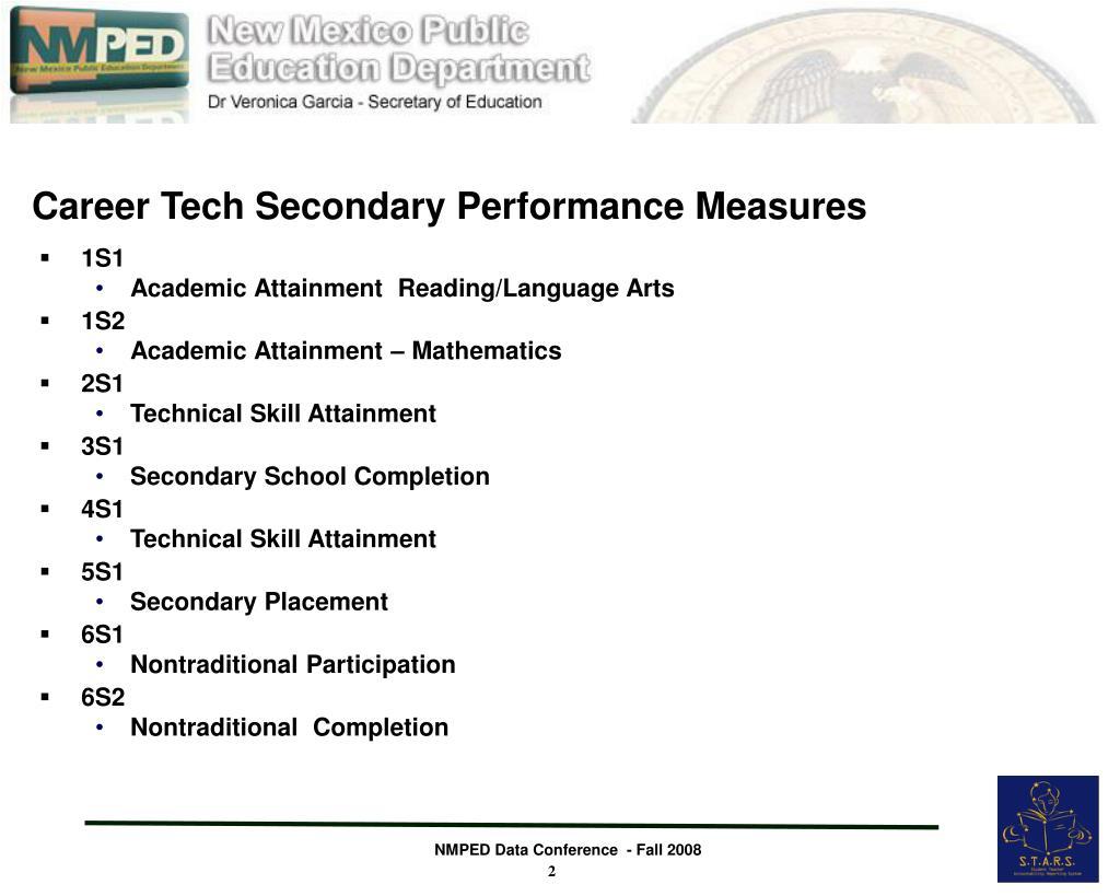 Career Tech Secondary Performance Measures