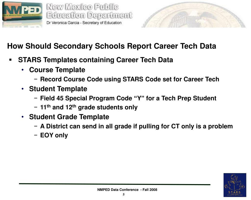How Should Secondary Schools Report Career Tech Data