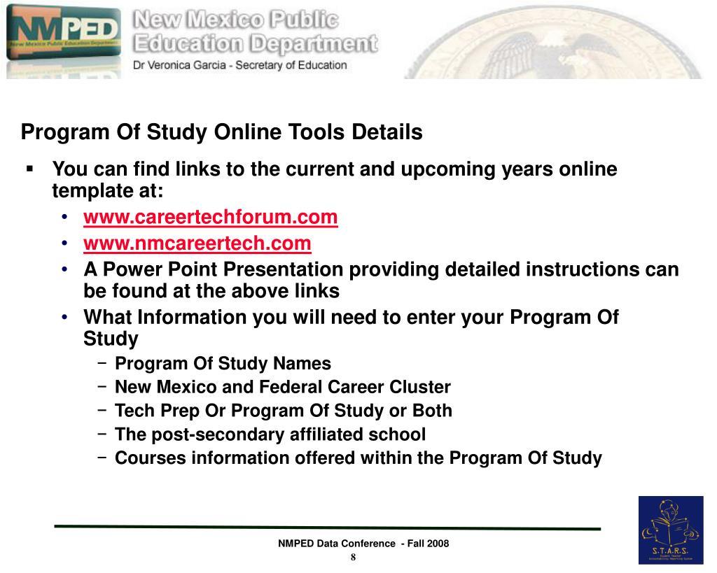 Program Of Study Online Tools Details