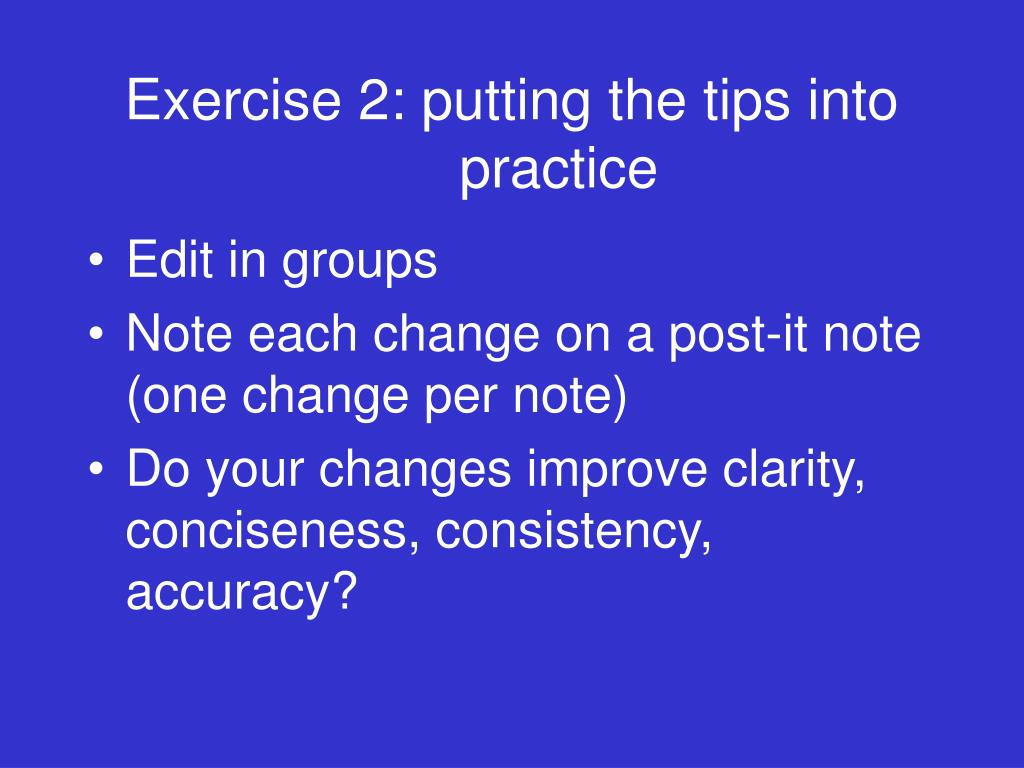 Exercise 2: putting the tips into practice