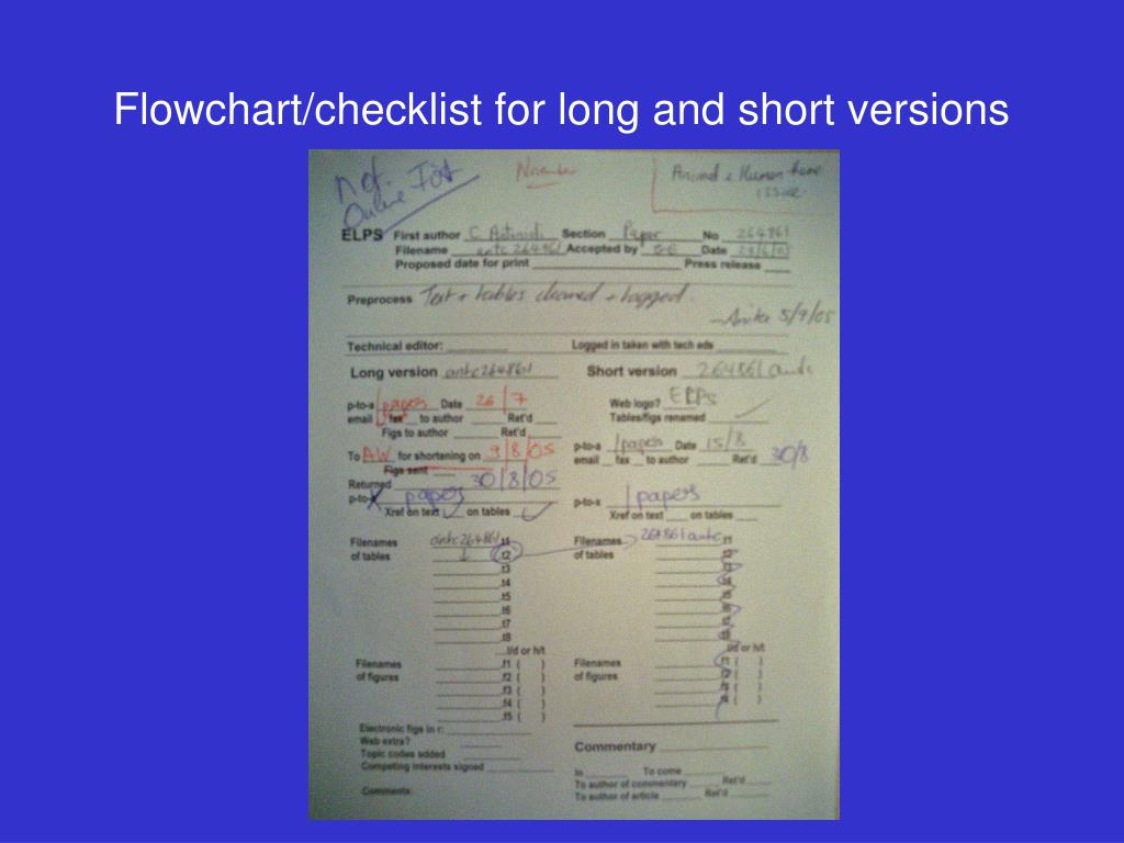 Flowchart/checklist for long and short versions