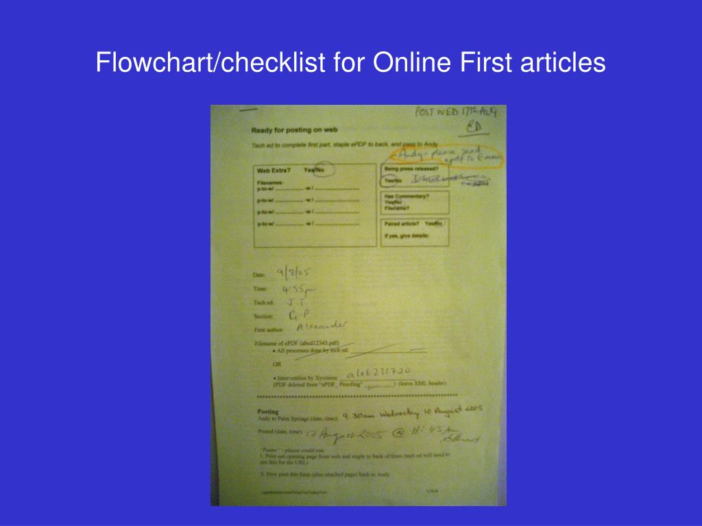Flowchart/checklist for Online First articles