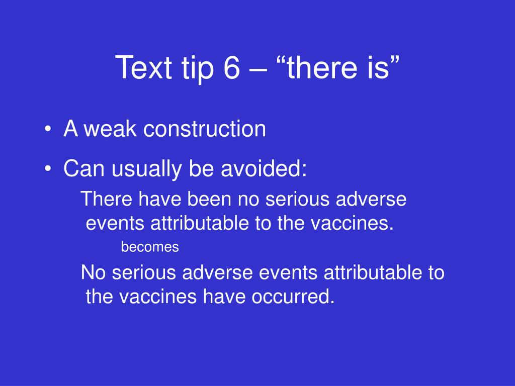 "Text tip 6 – ""there is"""