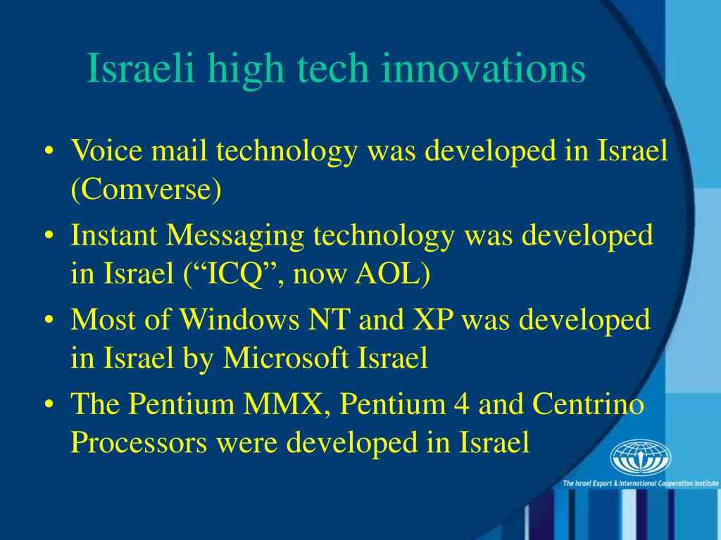 Voice mail technology was developed in Israel (Comverse)