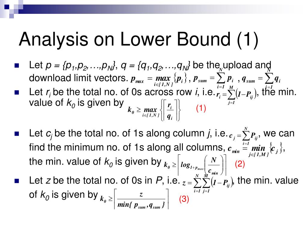 Analysis on Lower Bound (1)