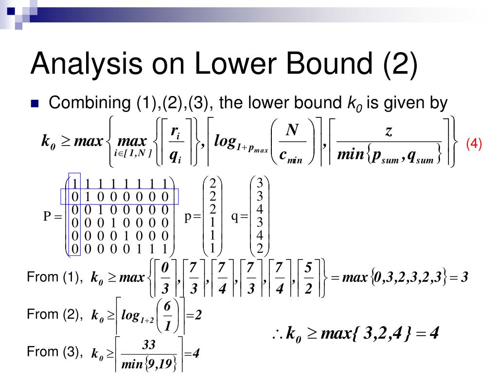 Analysis on Lower Bound (2)
