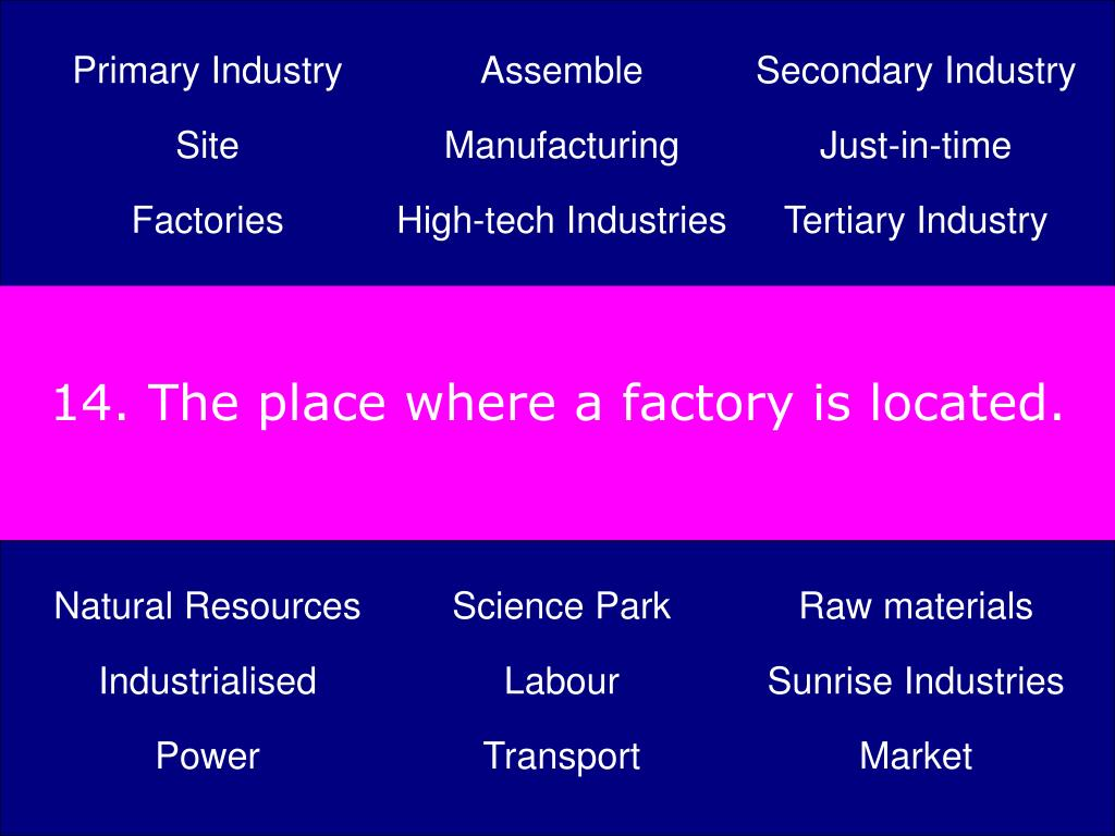 14. The place where a factory is located.