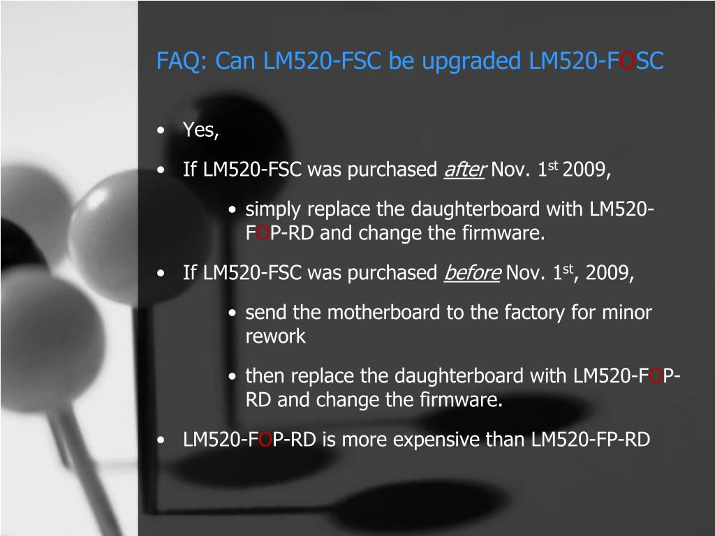 FAQ: Can LM520-FSC be upgraded LM520-F
