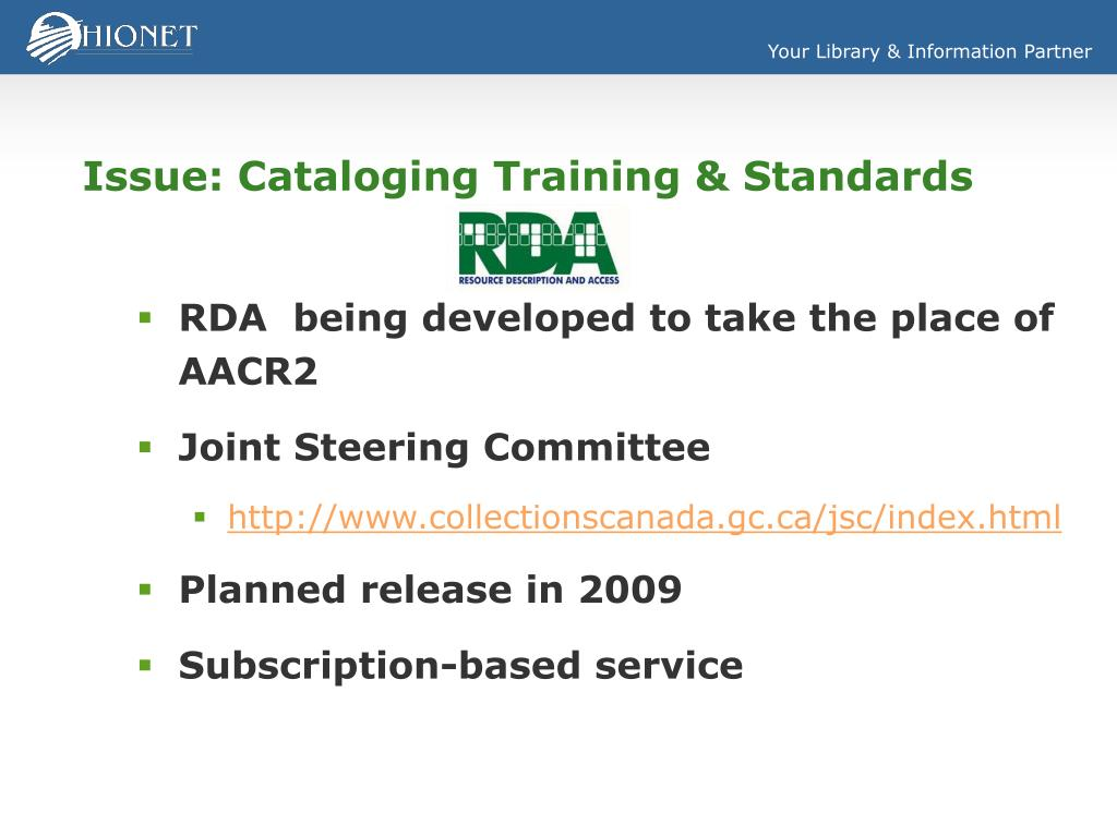 Issue: Cataloging Training & Standards