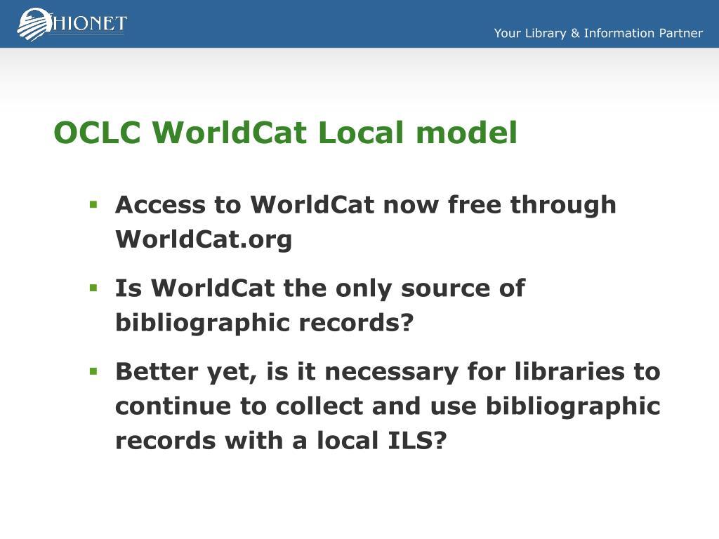 OCLC WorldCat Local model