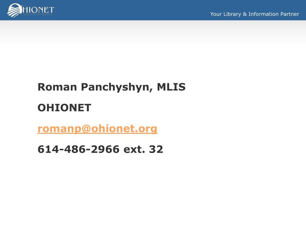 Roman Panchyshyn, MLIS