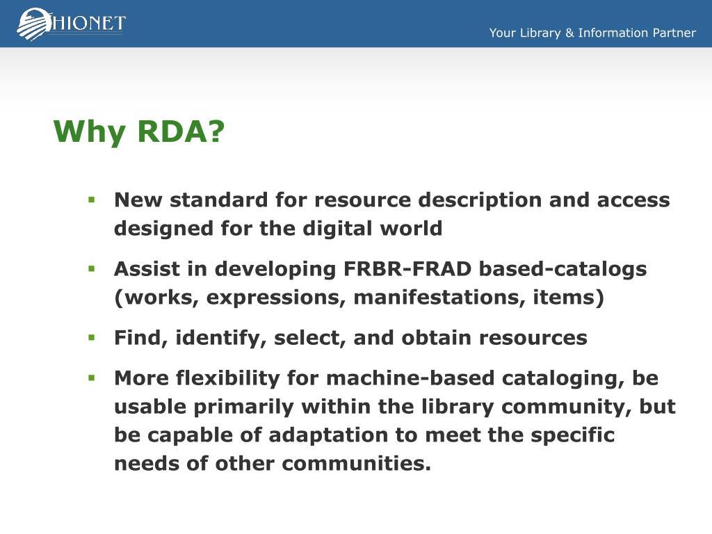 Why RDA?
