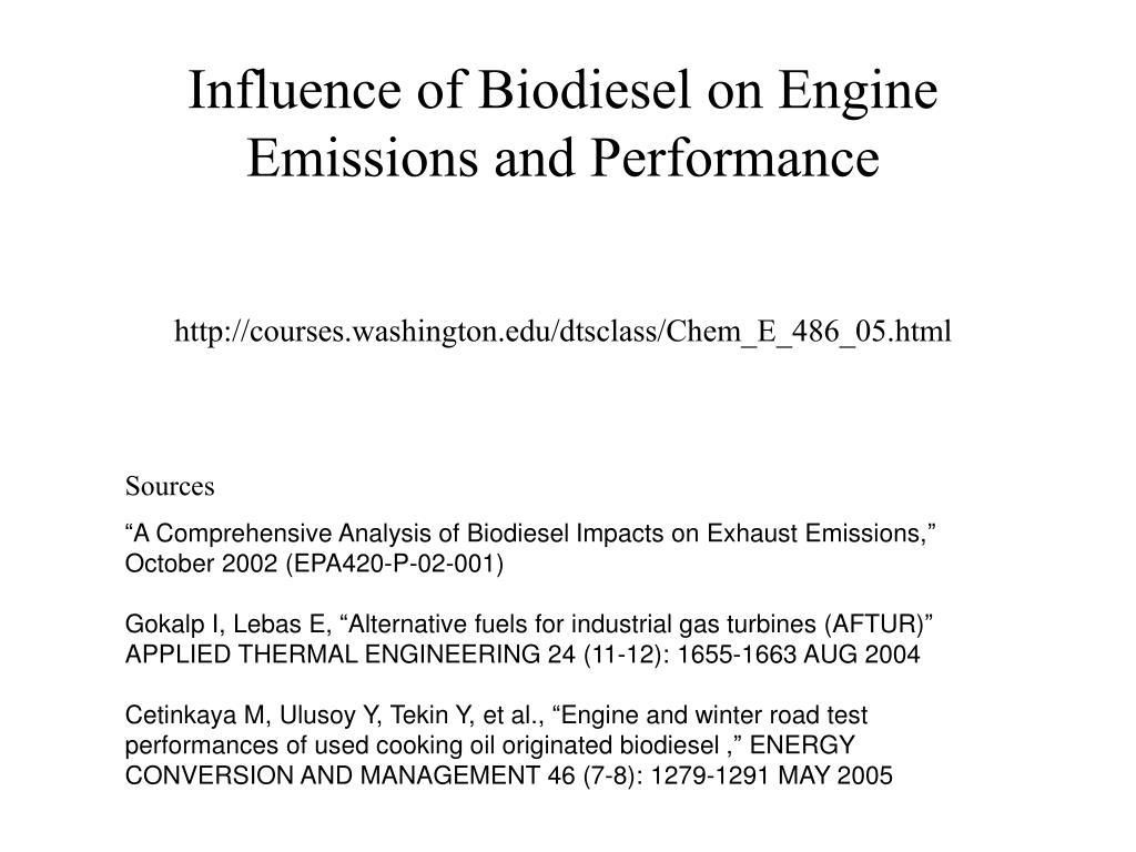 Influence of Biodiesel on Engine Emissions and Performance