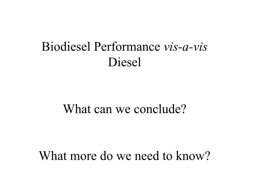 Biodiesel Performance