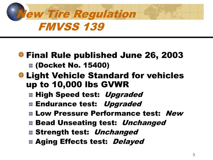 New tire regulation fmvss 139