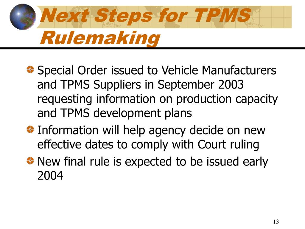 Next Steps for TPMS Rulemaking