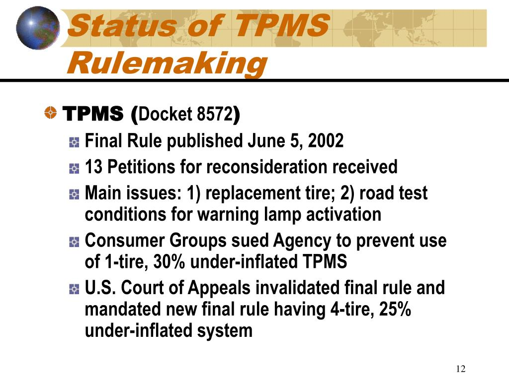 Status of TPMS Rulemaking