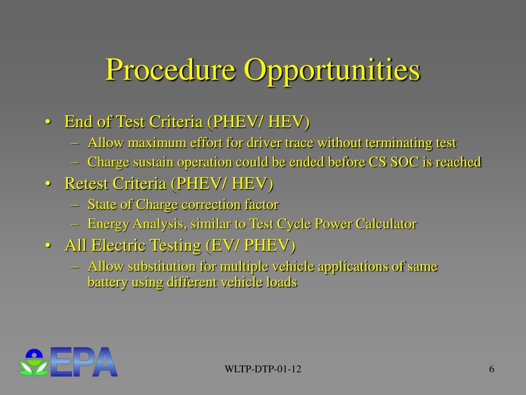 Procedure Opportunities