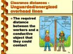 clearance distances unguarded energized overhead lines