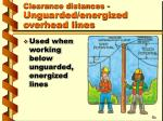 clearance distances unguarded energized overhead lines12