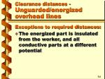 clearance distances unguarded energized overhead lines14