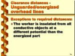clearance distances unguarded energized overhead lines15