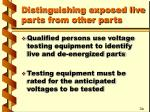 distinguishing exposed live parts from other parts
