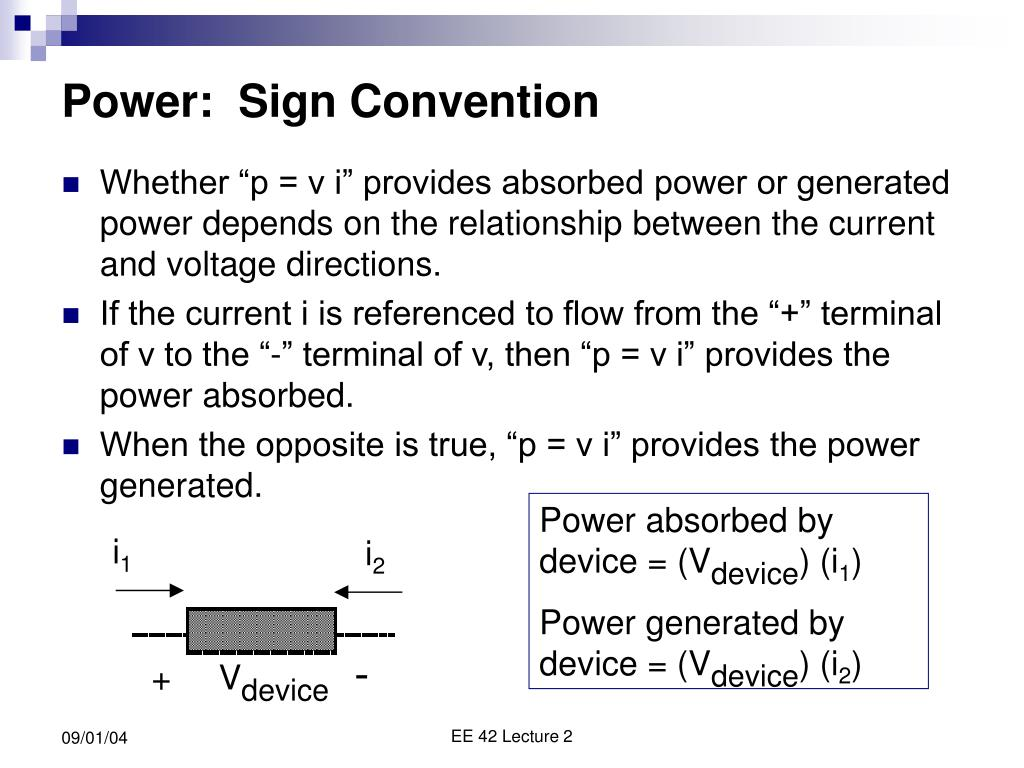 Power:  Sign Convention