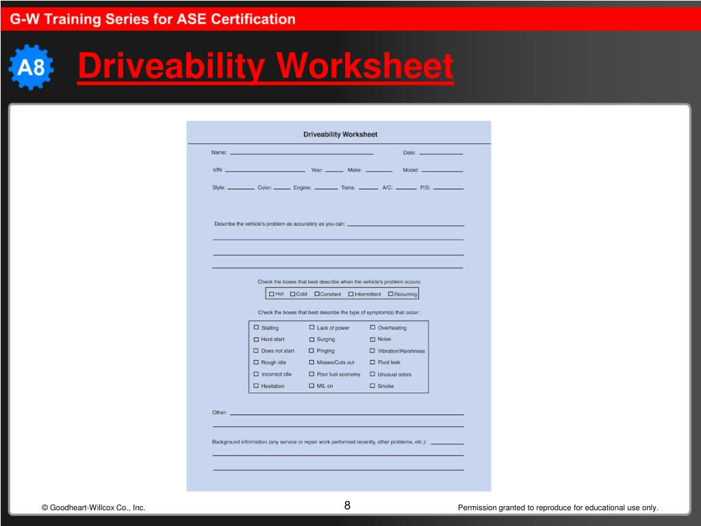 Driveability Worksheet