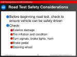 road test safety considerations