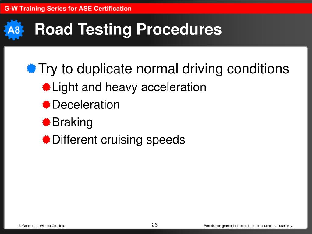 Road Testing Procedures