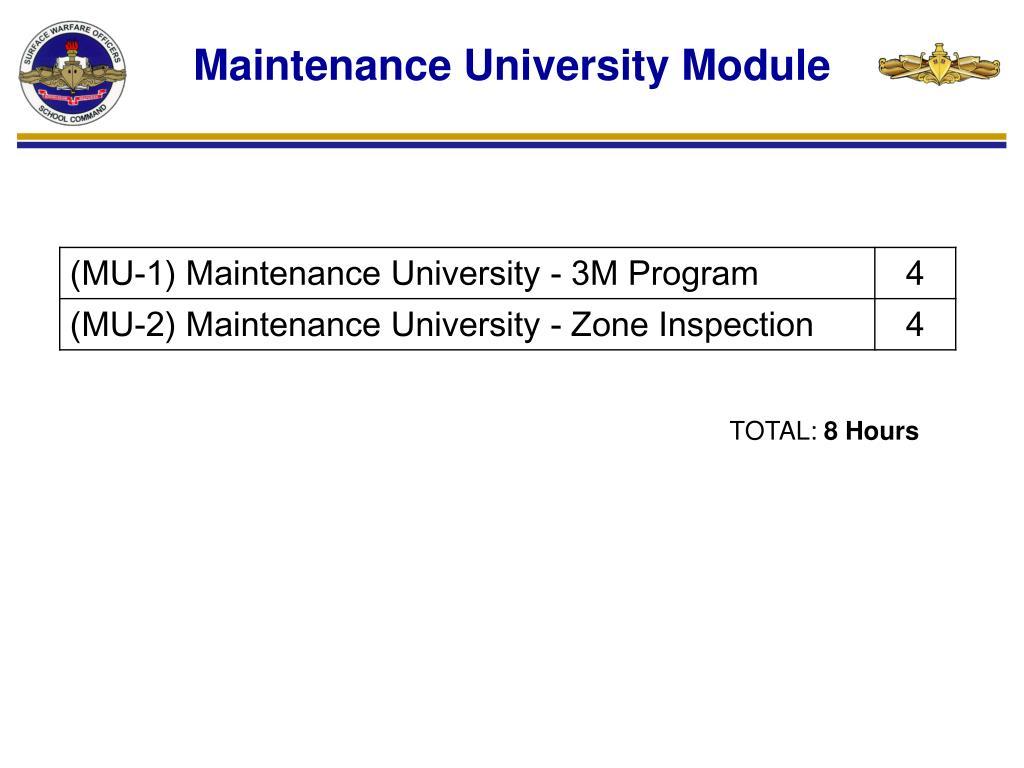 Maintenance University Module